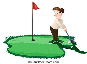 golfer - illustration of a man playing golf on isolated...