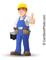 construção, trabalhador, À mão, dedo polegar*-para cima,...