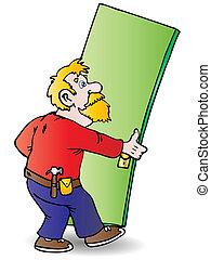 Handy man repair - optimistic Handy man repairing the door