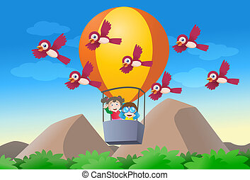 kid riding hot air baloon - illustration of a kid riding hot...