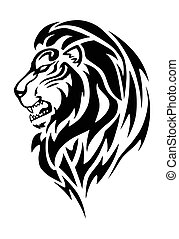 lion head tattoo - Simple illustration of a lion head in...