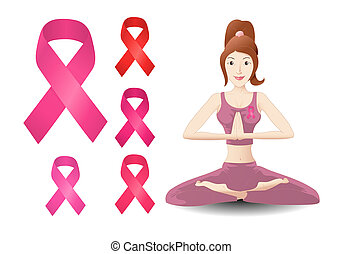 breast cancer ribbon - illustration of a woman doing yoga...