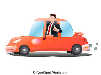 riding orange car - illustration of a businessman riding...