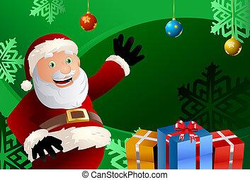 santa claus gift - Funny illustration of a santa claus who...