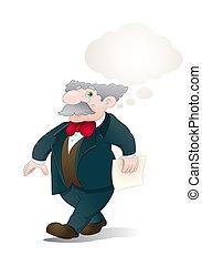 senior businessman thinking over isolated white background
