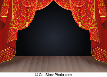 stage curtain - illustration of a stage curtain as a...