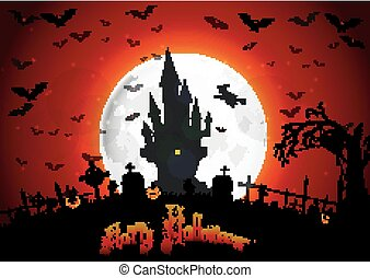 Halloween scary house on full moon - Illustration of...