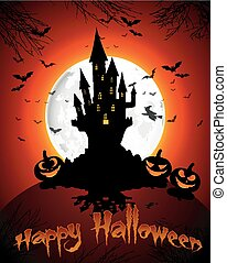 Halloween grave on full moon - Illustration of Halloween...