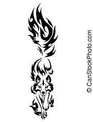 wolf tattoo - illustration of wolf black and white tattoo...