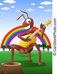 red ant playing guitar - illustration of a happy red ant...