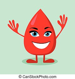 Blood Drop Cartoon Character Happy Smile Flat