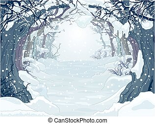 Winter Forest  - Winter forest landscape with trees