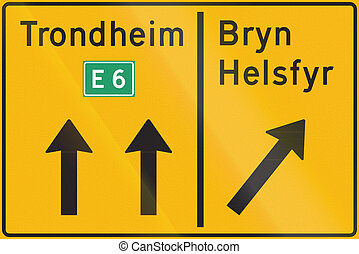 Norwegian highway direction sign with destinations above lane