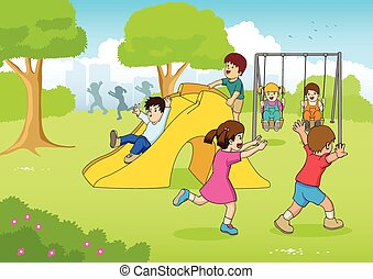 Playing At Playground - Cartoon illustration of children...