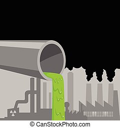 Industrial Waste - Vector graphic of a waste pipe from...