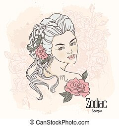 Zodiac. Vector Scorpio - Zodiac. Vector illustration of...