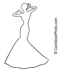 Abstract stylish women in long gown - Abstract stylish...
