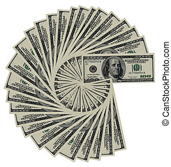 100 dollar notes isolated on a white background