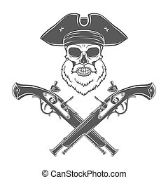 Captain skull with beard in cocked hat vector Jolly Roger...