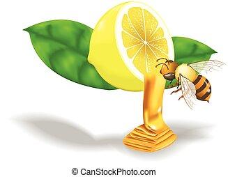 bee swarm lemon honey - Bee swarm of flying a sweet honey...
