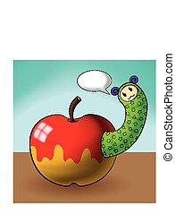 caterpillar cartoons and apple