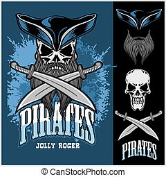 Pirate Skull in hat with Cross Swords on dark background.