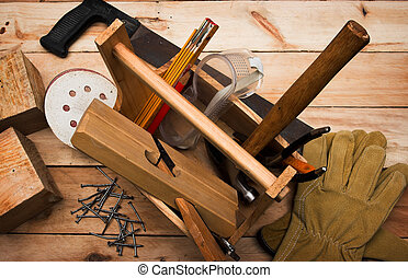 carpenter\'s tool on a workbench