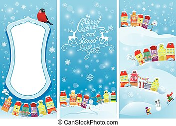Set of vertical banners with small fairy town on light blue sky background with decorative colorful houses in winter time. Images for Christmas and New Year design