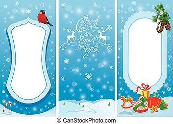 Set of vertical banners - Christmas and New Year cards with bullfinch bird, frame, fir tree branches and presents.
