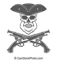 Captain skull with beard in cocked hat vector. Edward Teach...