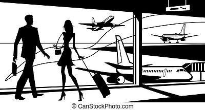 Passengers in airport waiting room - vector illustration