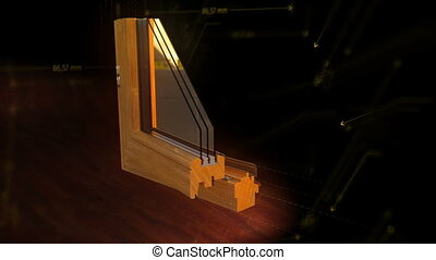Window profile cut animation black - Window profile cut wood...
