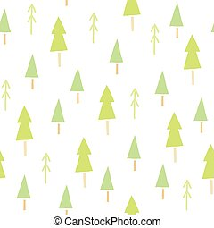 Green spruces seamless pattern.