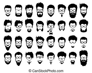 Vector set of hipster style haircut, glasses, beard, mustache