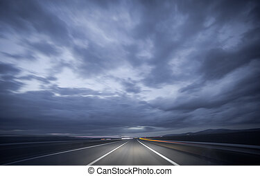 Night driving, blurred shot - Wide angle view of car driving...