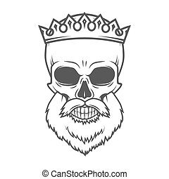 Bearded Skull with Crown design element. Dead King Arthur...