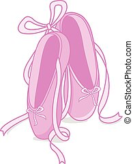 Ballet shoes - Vector illustration of a pair of pink ballet...