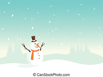 Snowy landscape with snowman - Vector illustration of a...