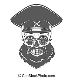 Bearded Skull with Captain cap and goggles Dead crazy tyrant...