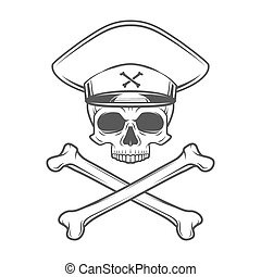 Skull with general hat and cross bones Dead crazy tyrant...