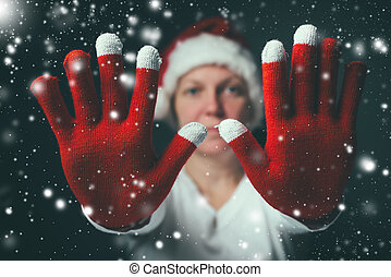 Stop the celebration, beautiful woman in Santa Claus costume...