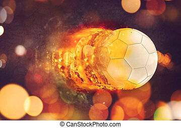 Soccer ball in flames - Soccer ball burning in flames,...