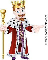 Fun Cartoon King Pointing - Friendly King cartoon character...
