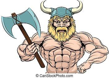 Viking Warrior Sports Mascot - Viking Warrior sports team...