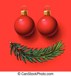 Red Christmas balls and fir twig