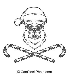 Bearded Skull Santa Claus with candy canes and grasses...