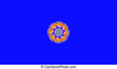 Colorful spiral mandala - On a blue background is slowly...