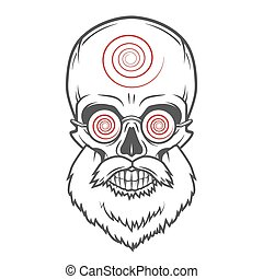 Bearded skull with hypnotic glasses. Crazy steampunk...
