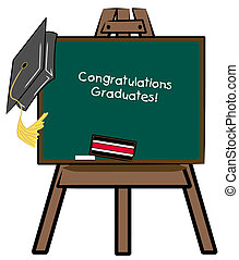 easel chalkboard with graduation cap - congratulations...