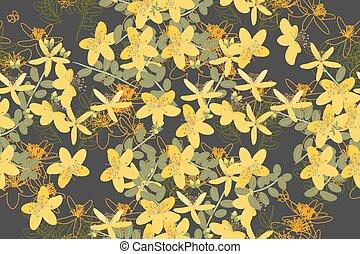Floral StJohns Wort retro vintage background - Floral retro...